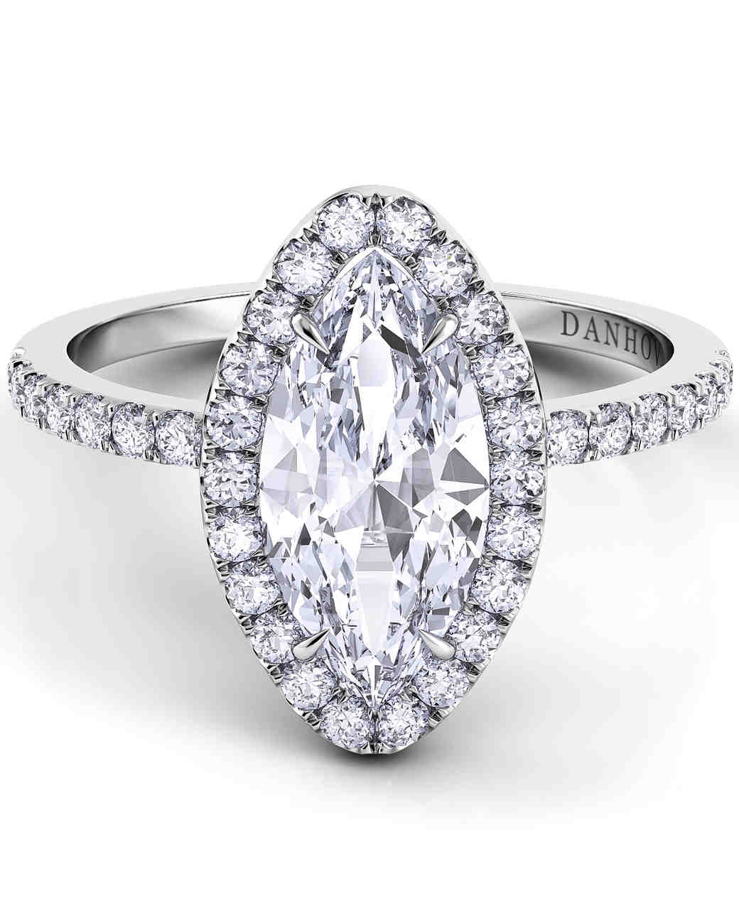Danhov Marquise-Cut Platinum Engagement Ring with Diamond Shank and Halo
