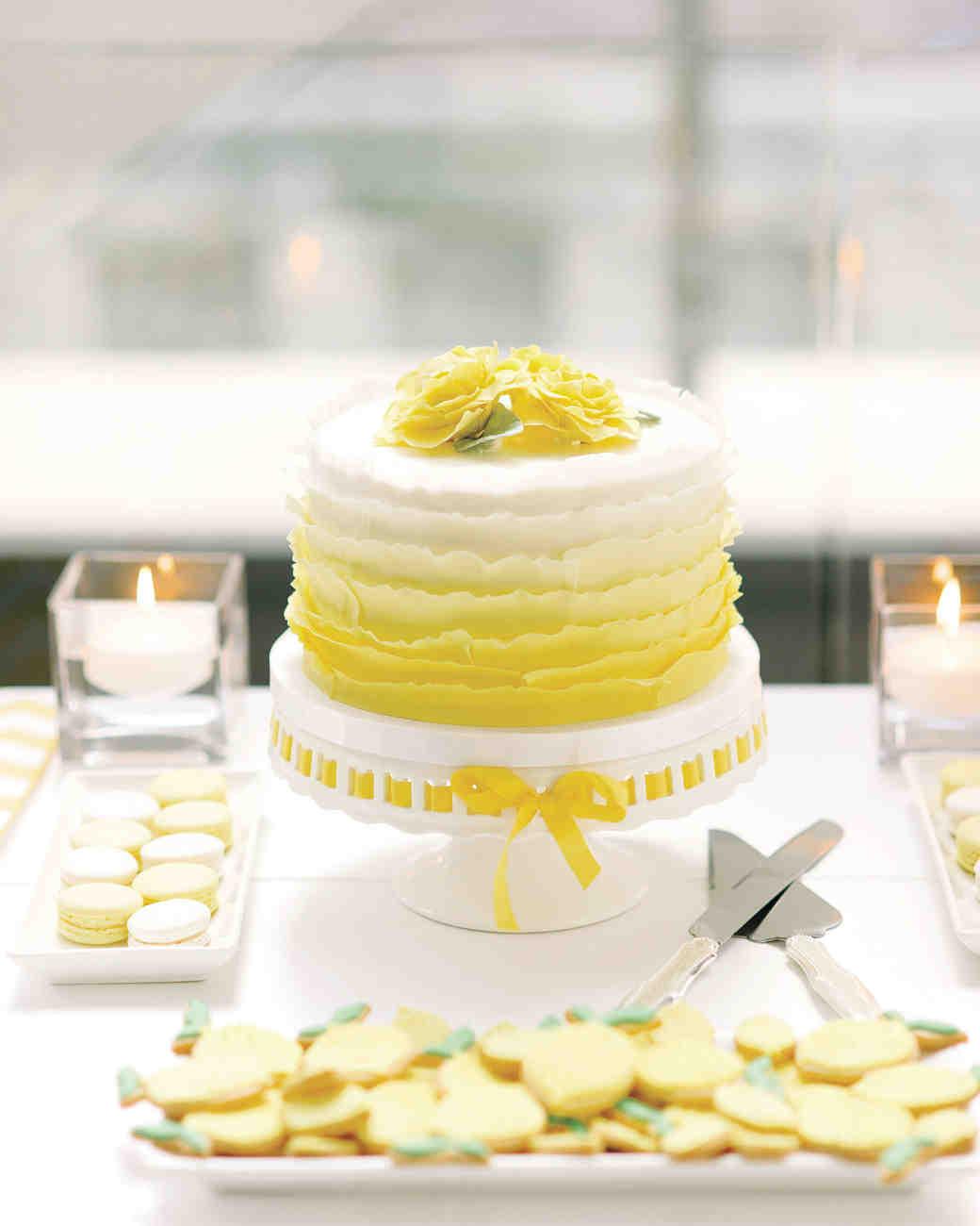 Simple yellow wedding cakes