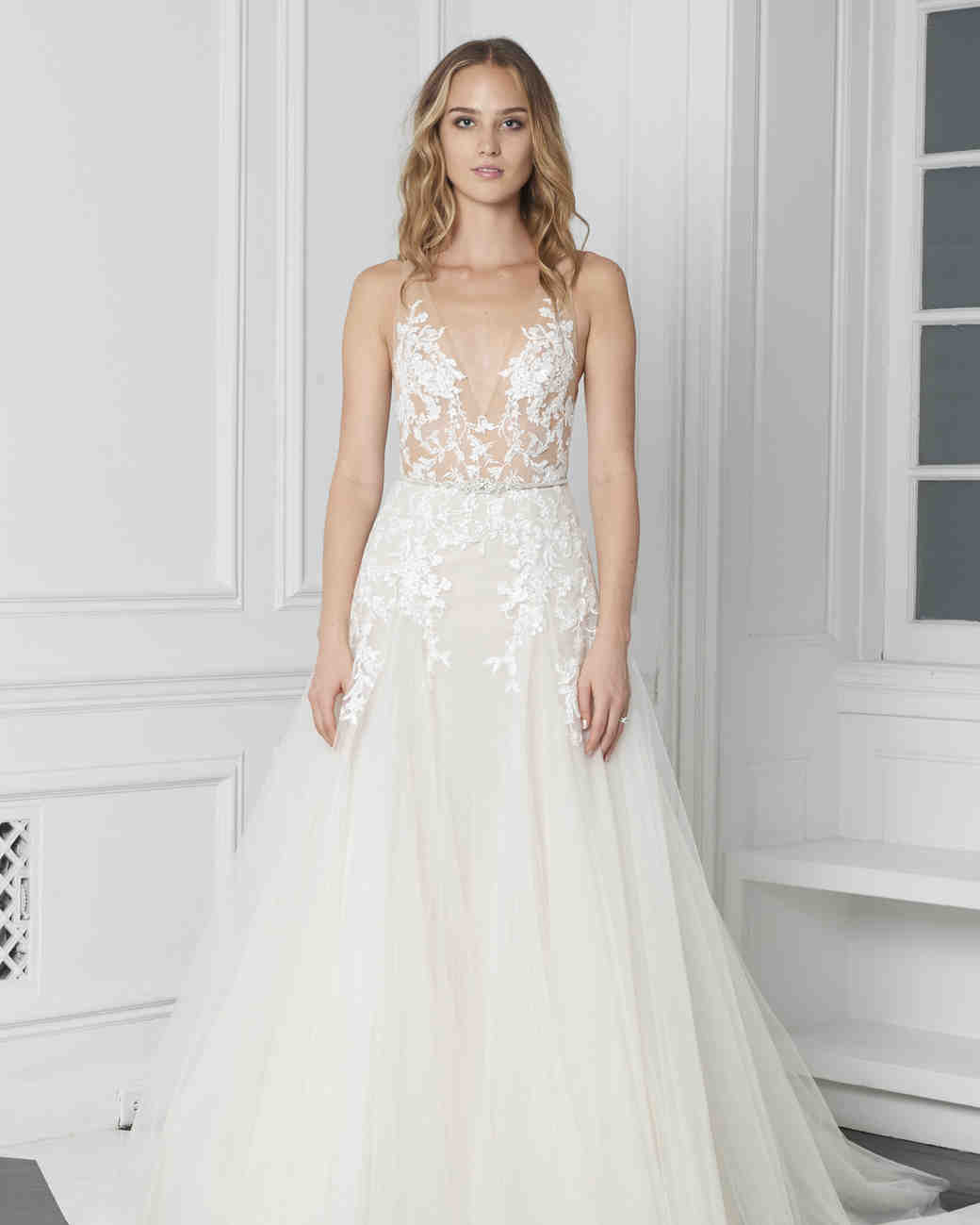 20231de274c1b4 Monique Lhuillier Bliss Fall 2018 Embroidered A-Line Wedding Dress with  V-Neckline