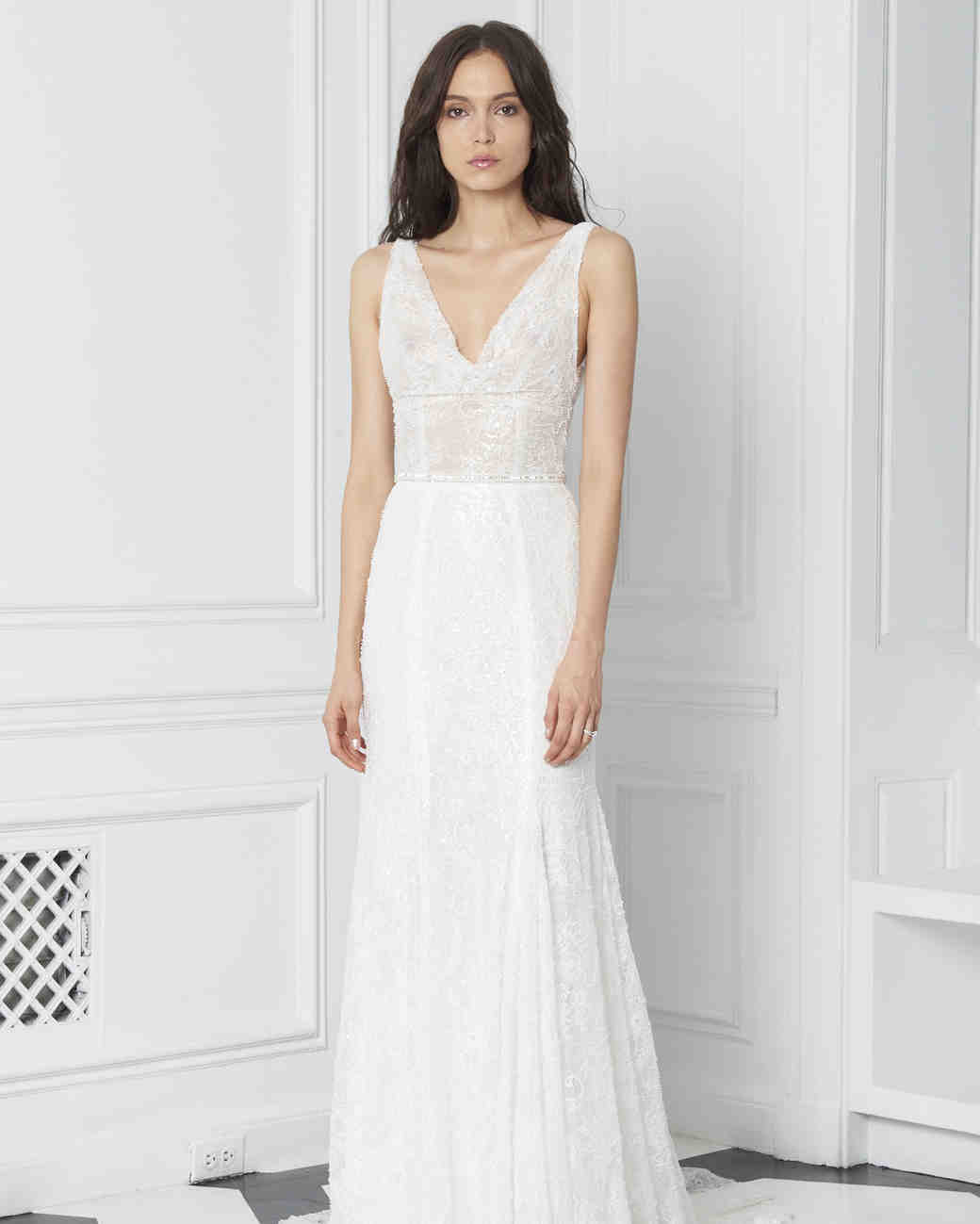 Monique Lhuillier Bliss Fall 2018 Embroidered Lace Wedding Dress