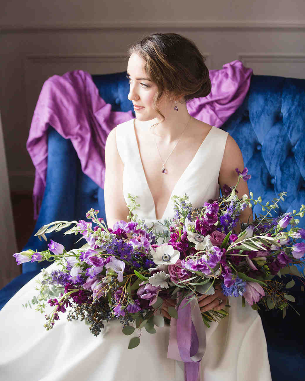Purple And White Wedding Flower Bouquets: 30 Monochromatic Wedding Bouquets