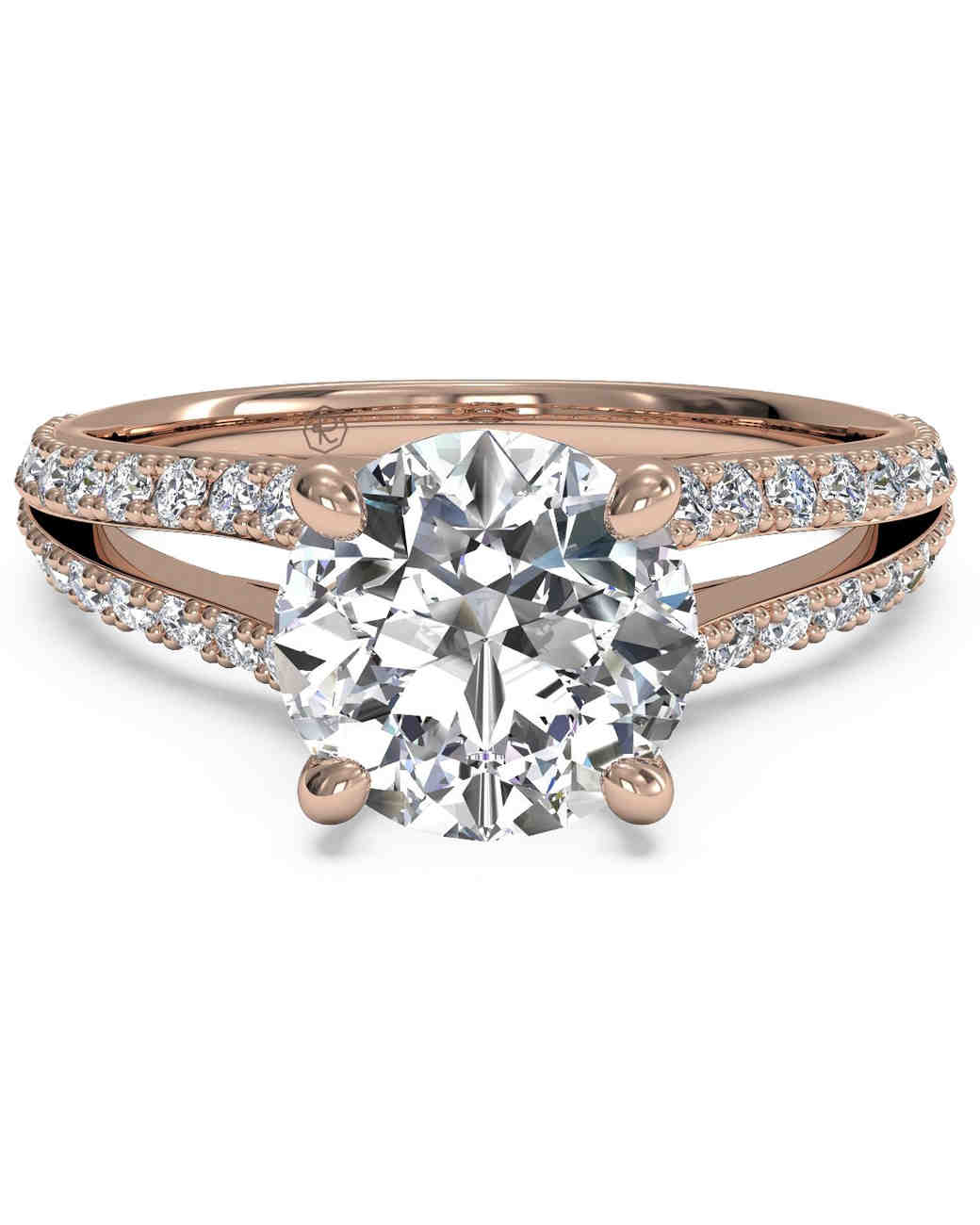 "Ritani Double French Set ""V"" Engagement Ring with Rose Gold Band"