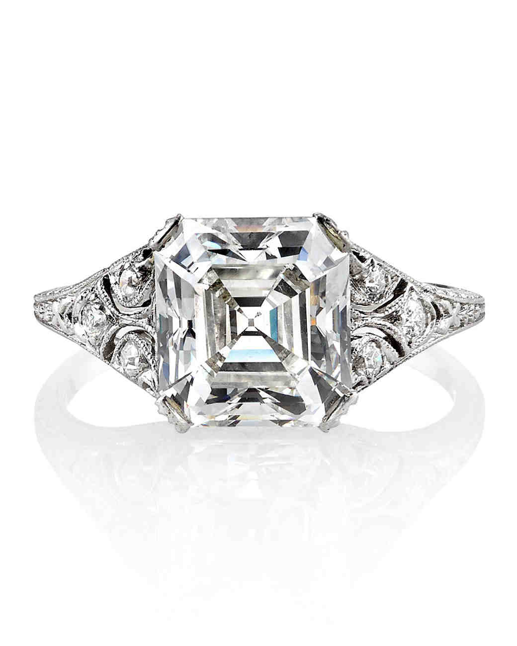 platium gold asscher marsac engagement image ring solitaire de cut rings