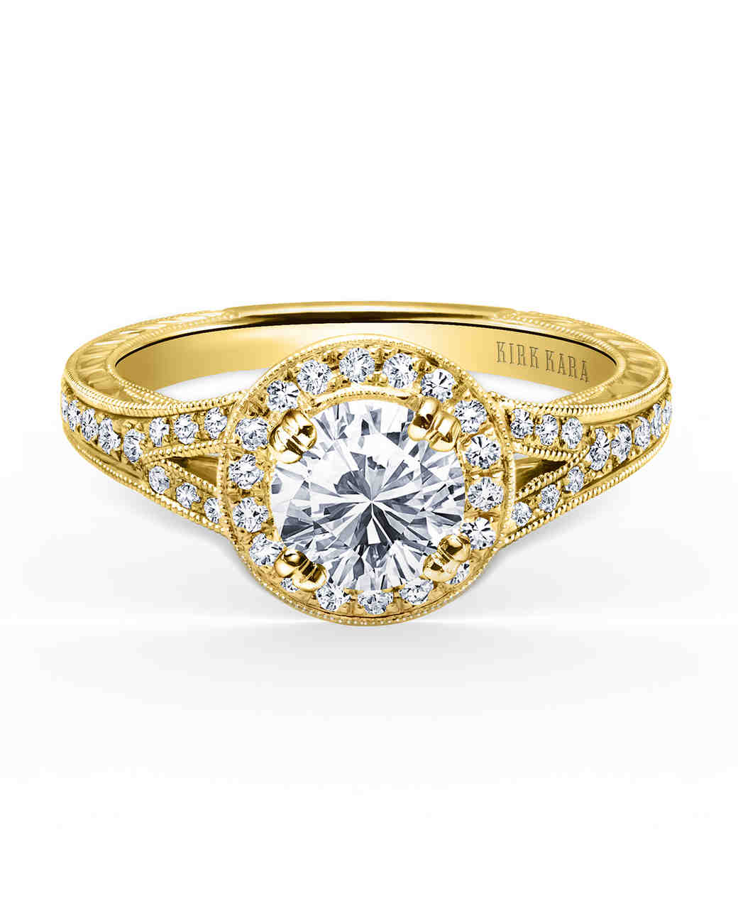 Kirk Kara Yellow Gold Engagement Ring with Split Shank