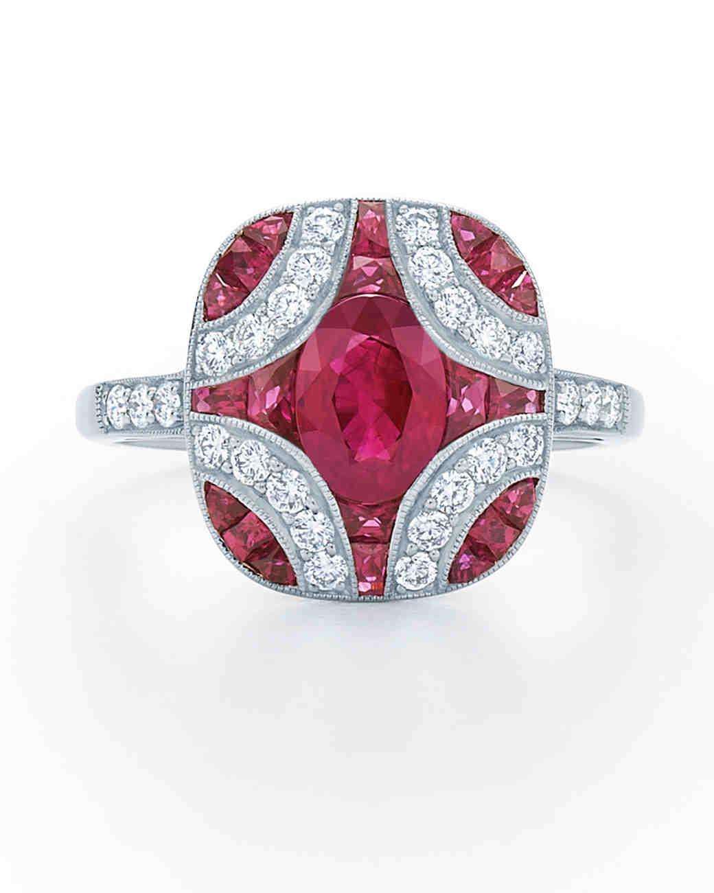 Kwiat Vintage Ruby Engagement Ring With Diamond Detailing: Ruby Wedding Ring Set 18k At Reisefeber.org