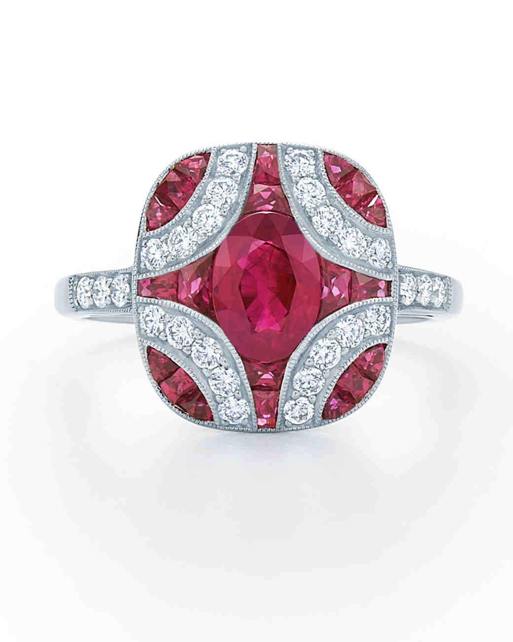 kwiat vintage ruby engagement ring with diamond detailing - Ruby Wedding Ring