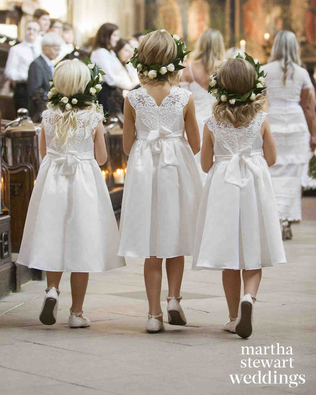 Flower Girls Wearing Rose Flower Crowns