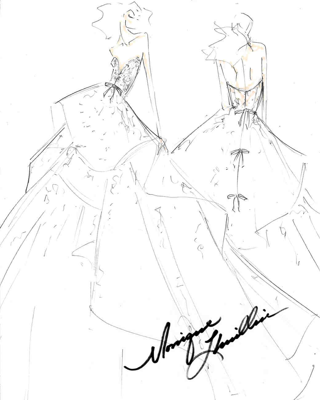 monique lhuillier fall 2017 exclusive wedding dress sketch