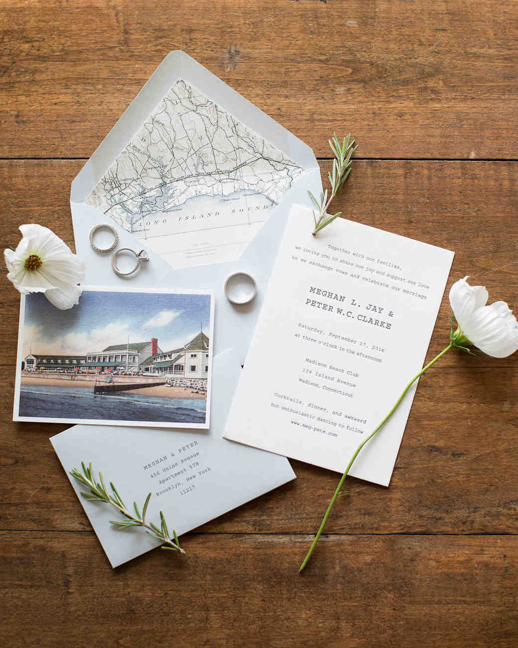nautical invitation set with water front venue history design elements