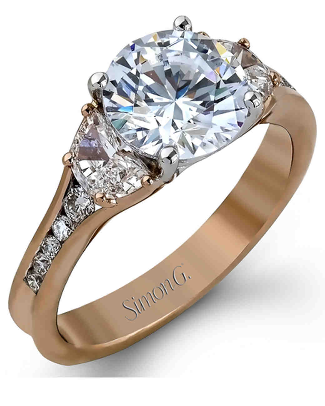 Simon G. Half Moon and Round Diamond Rose Gold Engagement Ring