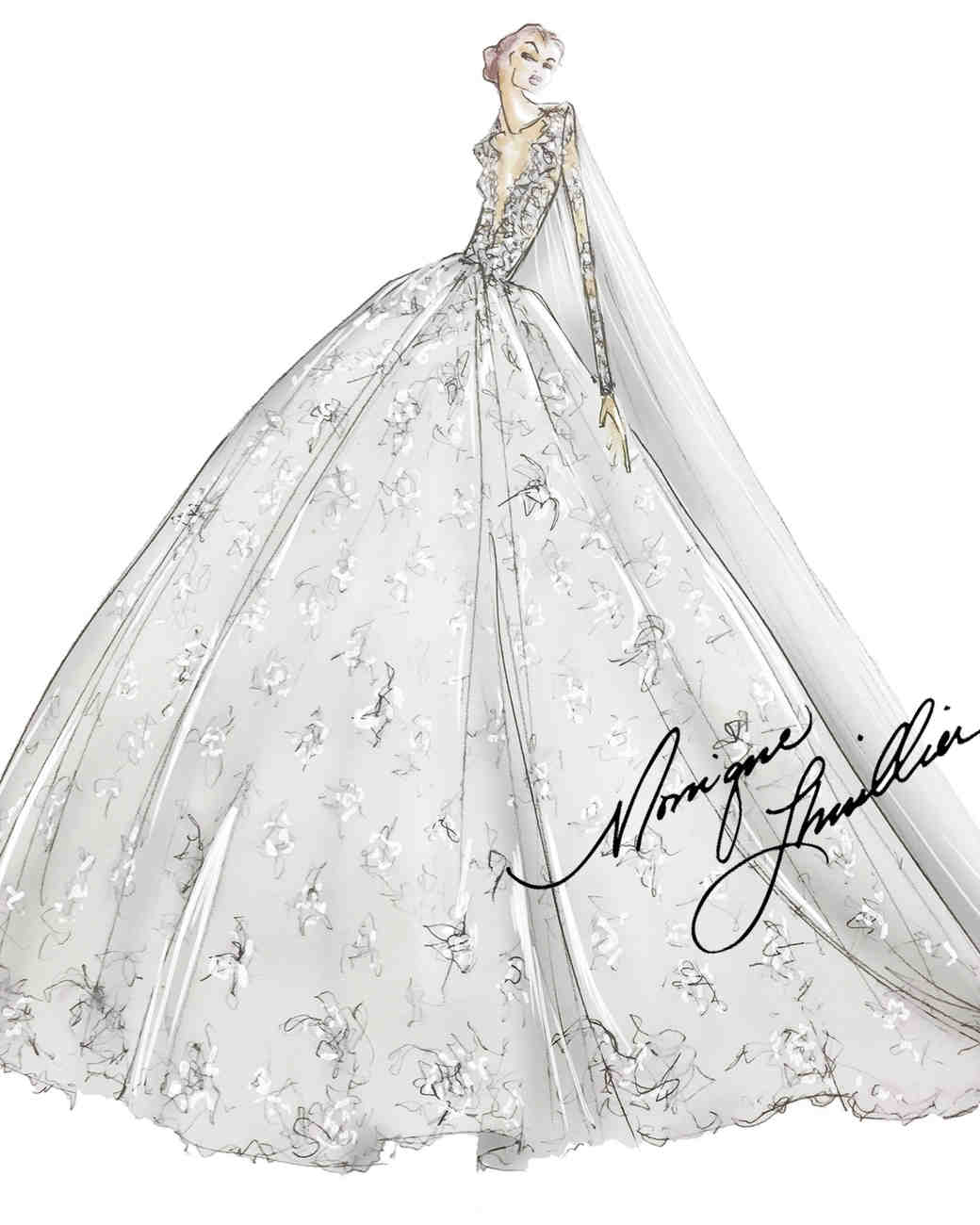Spring 2019 Bridal Fashion Week Preview Sketch, Monique Lhuillier