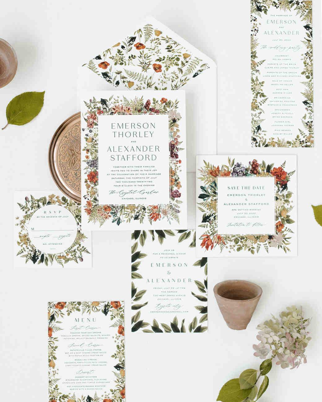 invitation suite with floral motif