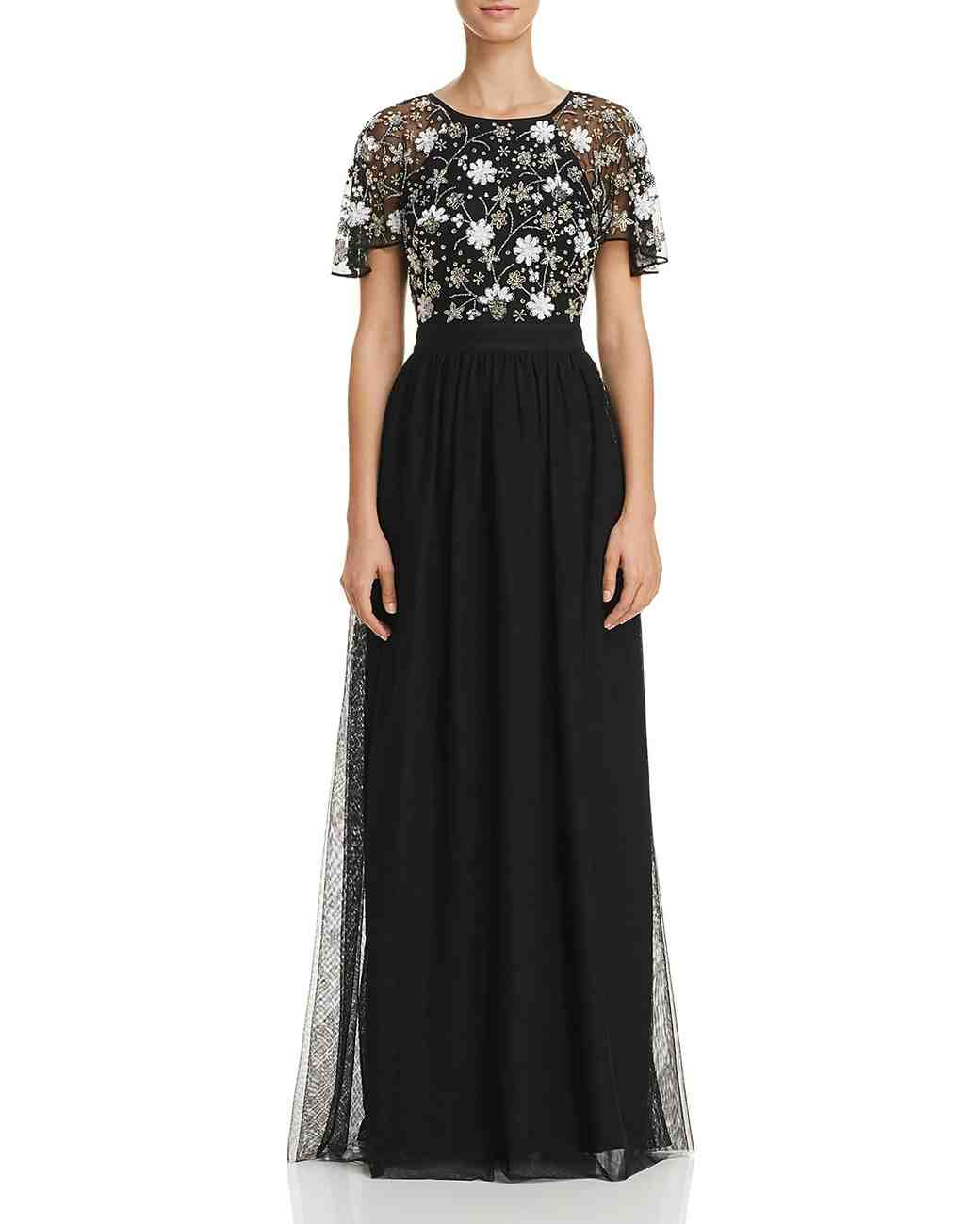 Aidan Aidan Black Mother of the Bride Dress with White Floral Details