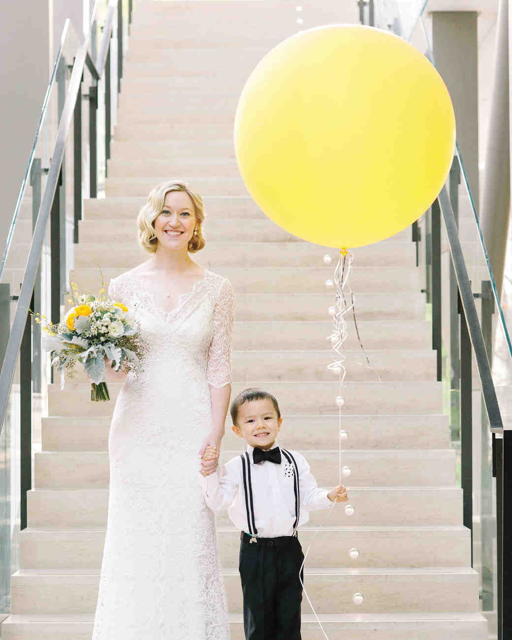 ring bearer holding balloon