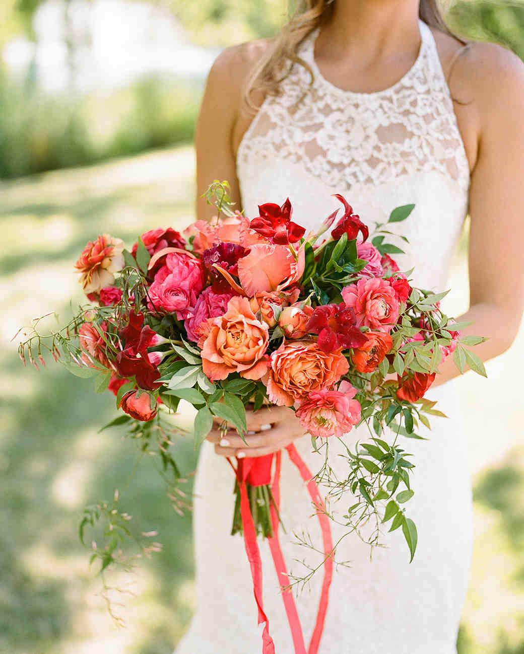 monochromatic bouquet red flowers