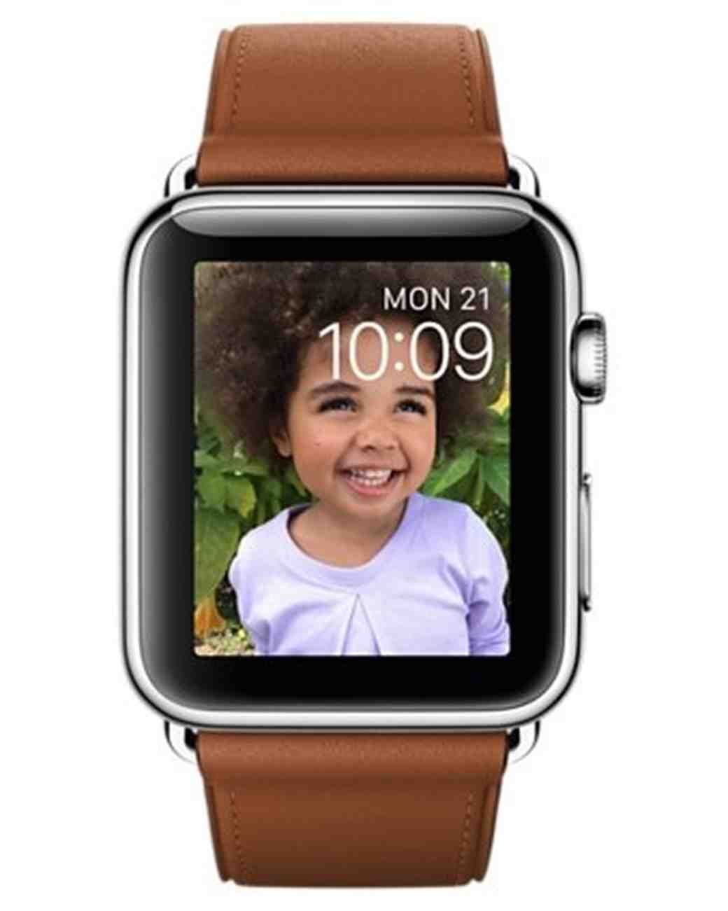 Apple Watch with Stainless Steel Case and Saddle Brown Buckle