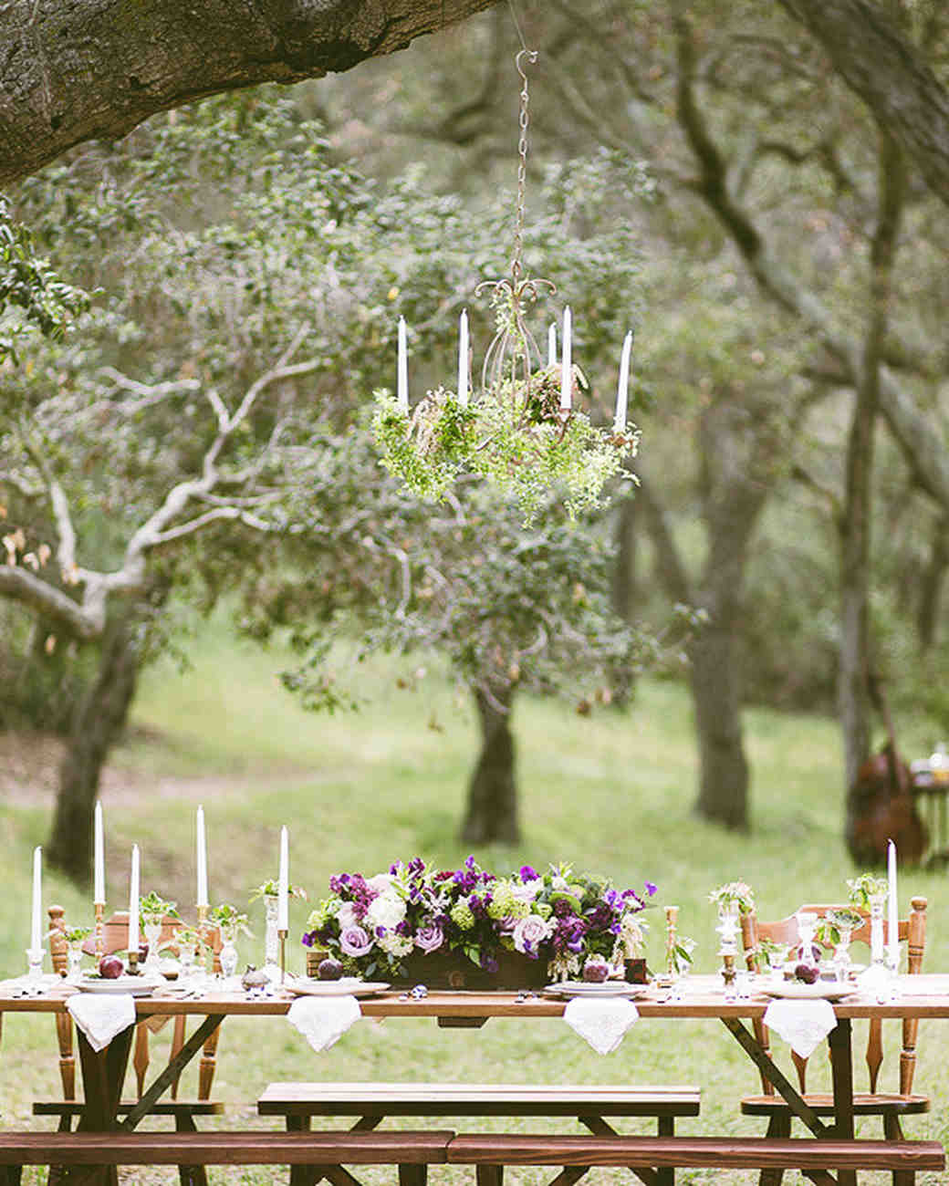 Picnic Tables at Garden Wedding Reception