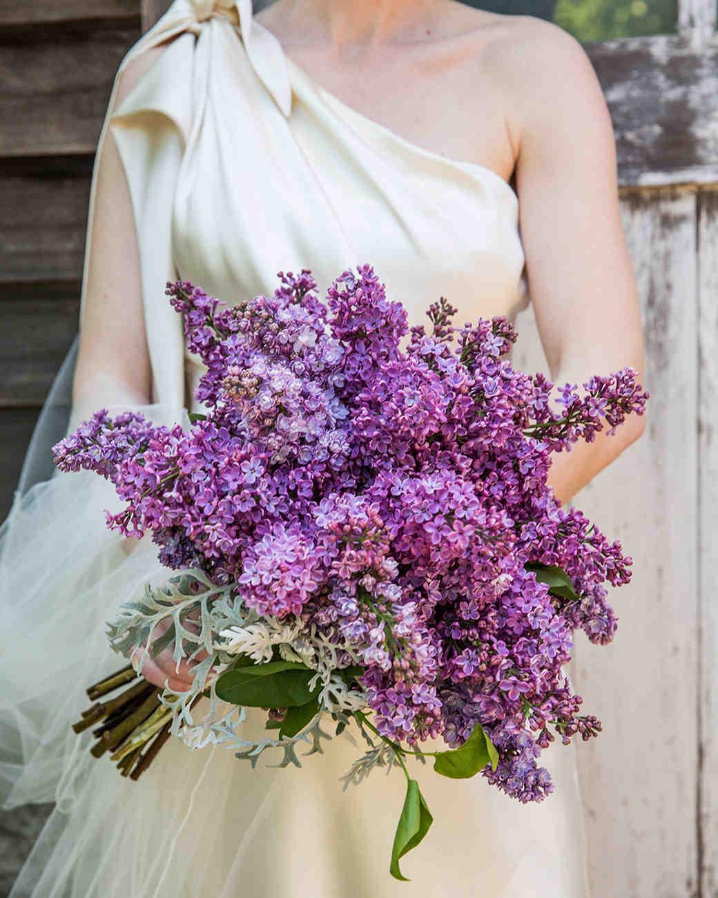 monochromatic bouquet lilac flowers