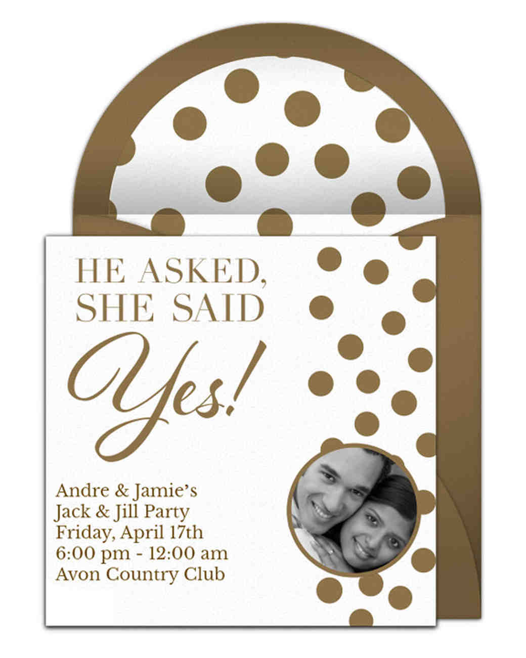 paperless engagement party invite gold polka dots