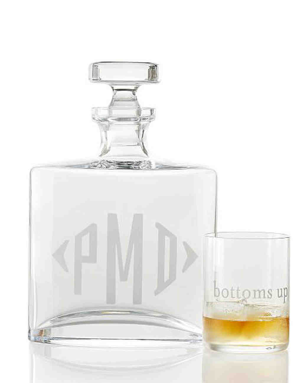 personalized engagement gift glass decanter