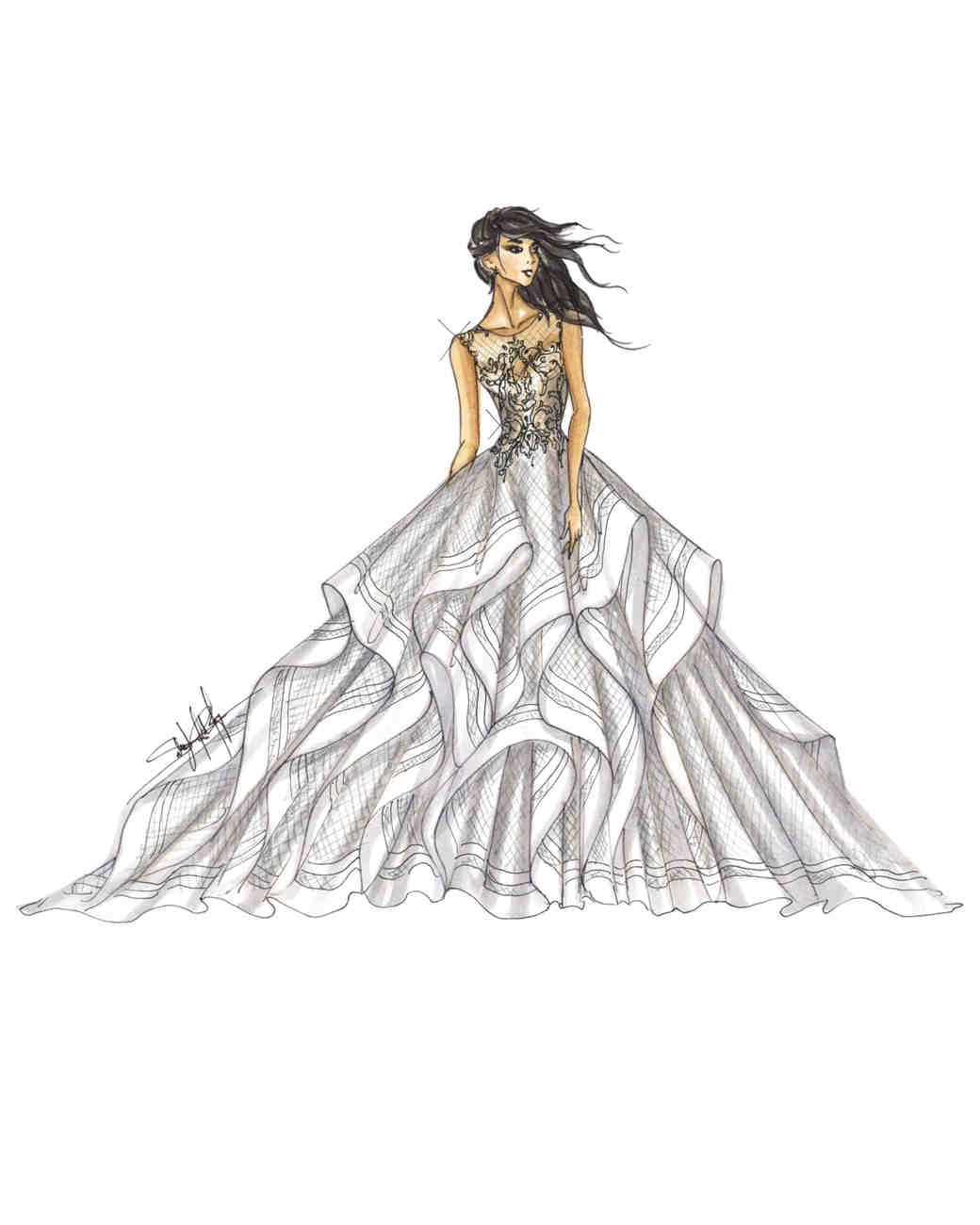 sottero and midgley wedding dress sketch