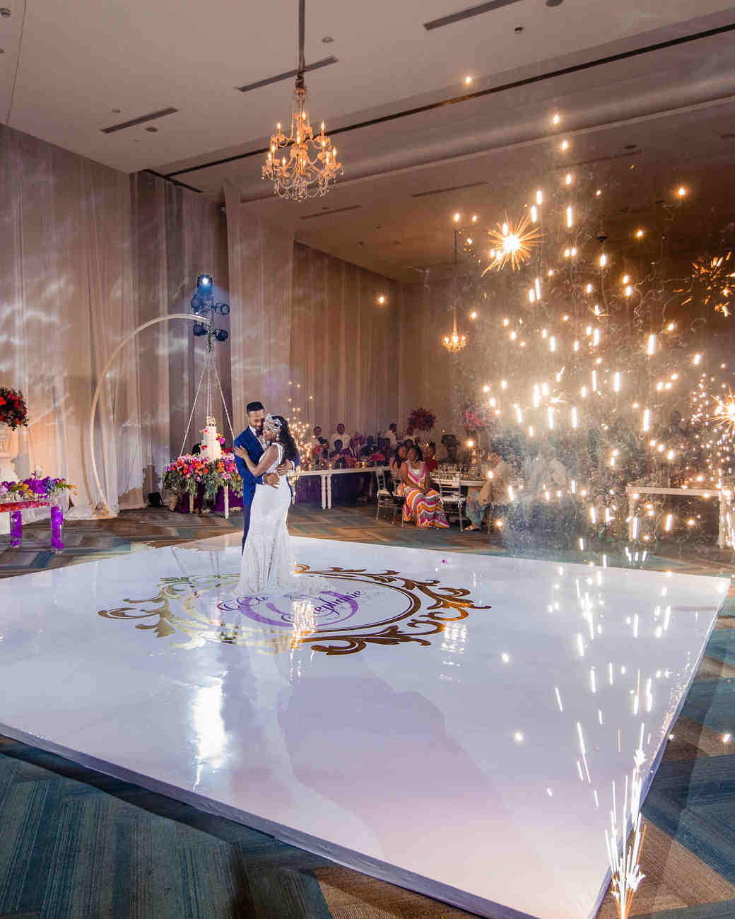 bride groom first dance sparkler dance floor