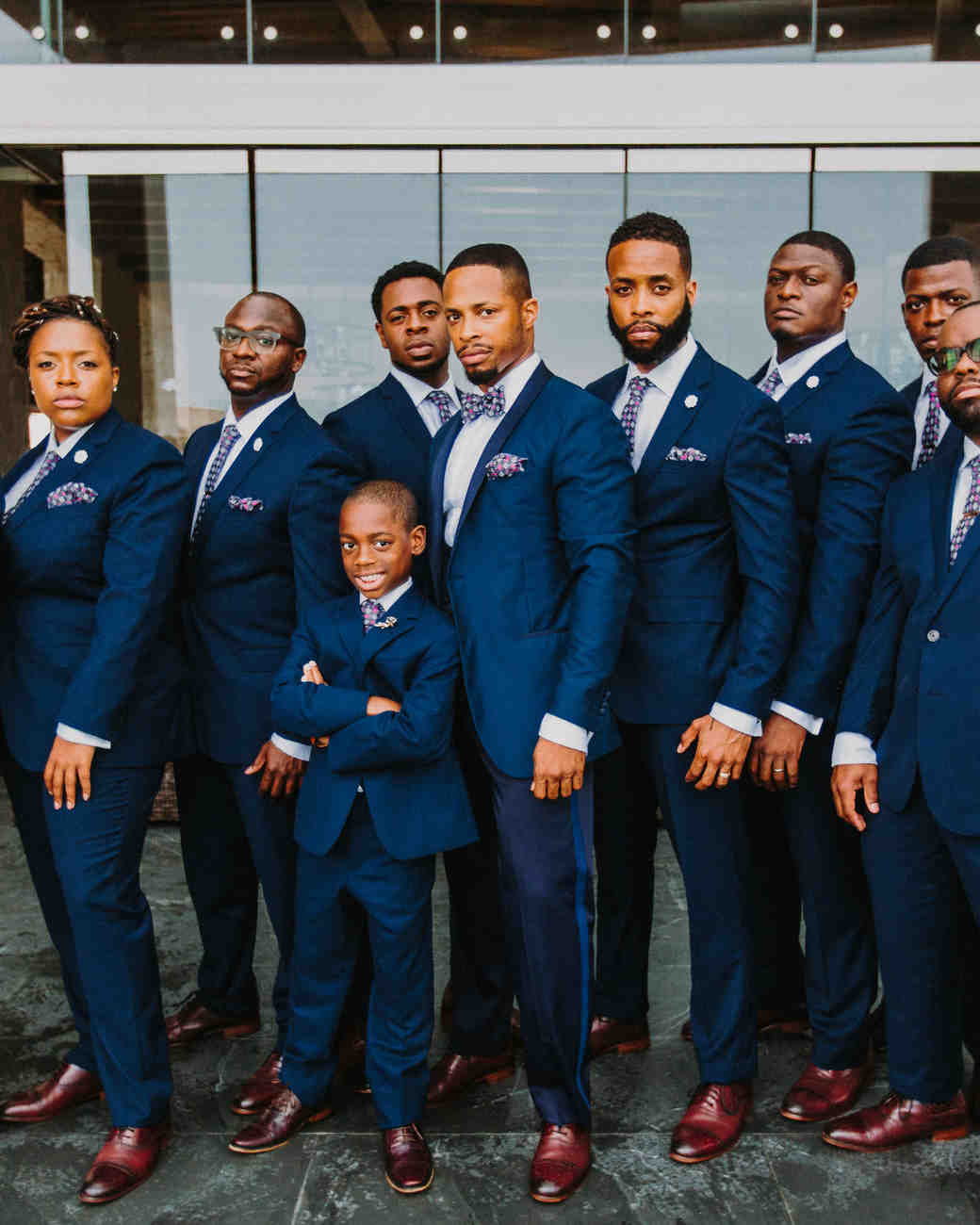 groom groomsmen groomsmaid navy blue suits