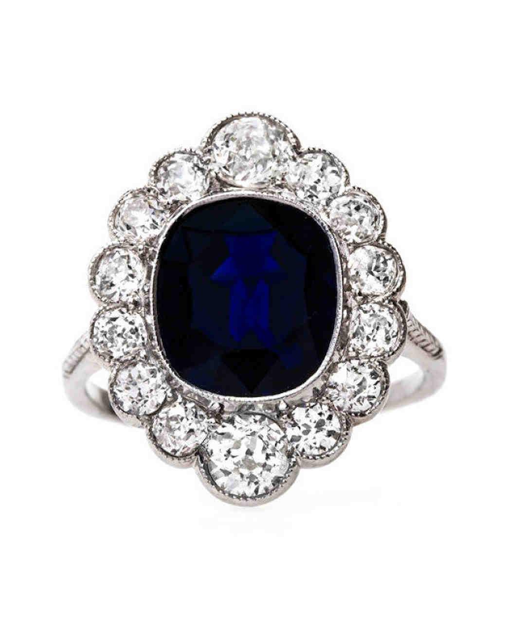 Trumpet & Horn Cushion-Cut Sapphire Engagement Ring