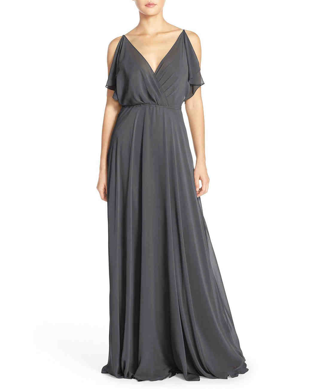 winter bridesmaid dress jenny yoo cassie flutter sleeve grey