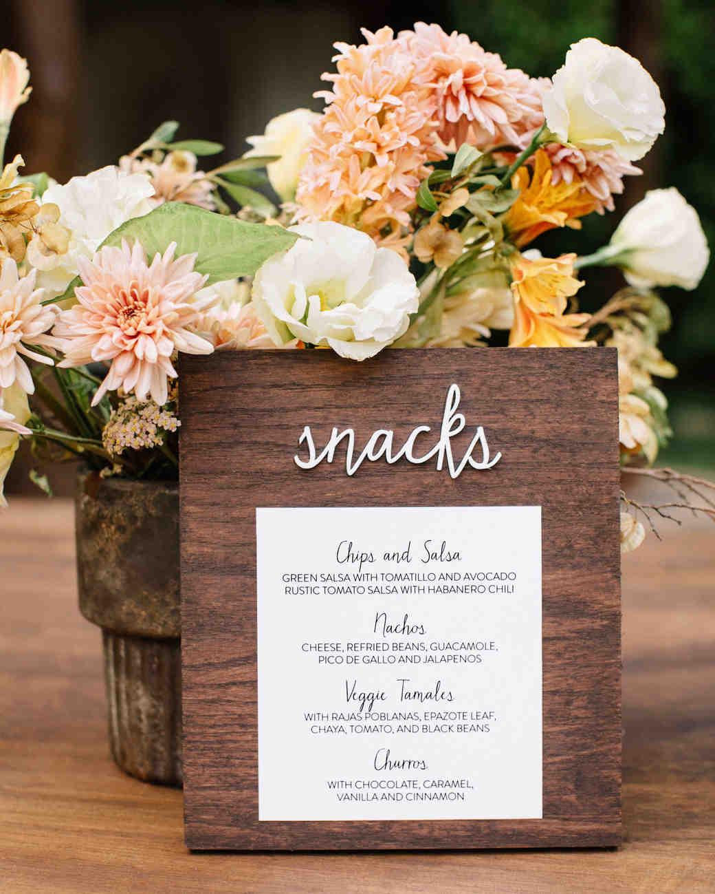 ariel trevor wedding tulum mexico snack sign flowers