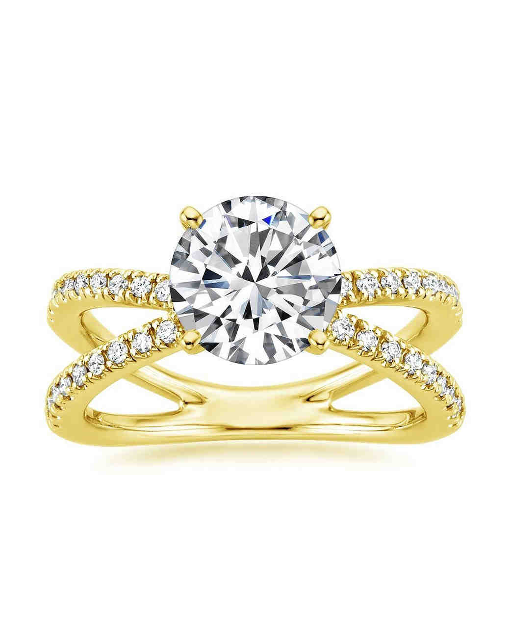 Brilliant Earth Yellow Gold Bisou Diamond Engagement Ring with double band