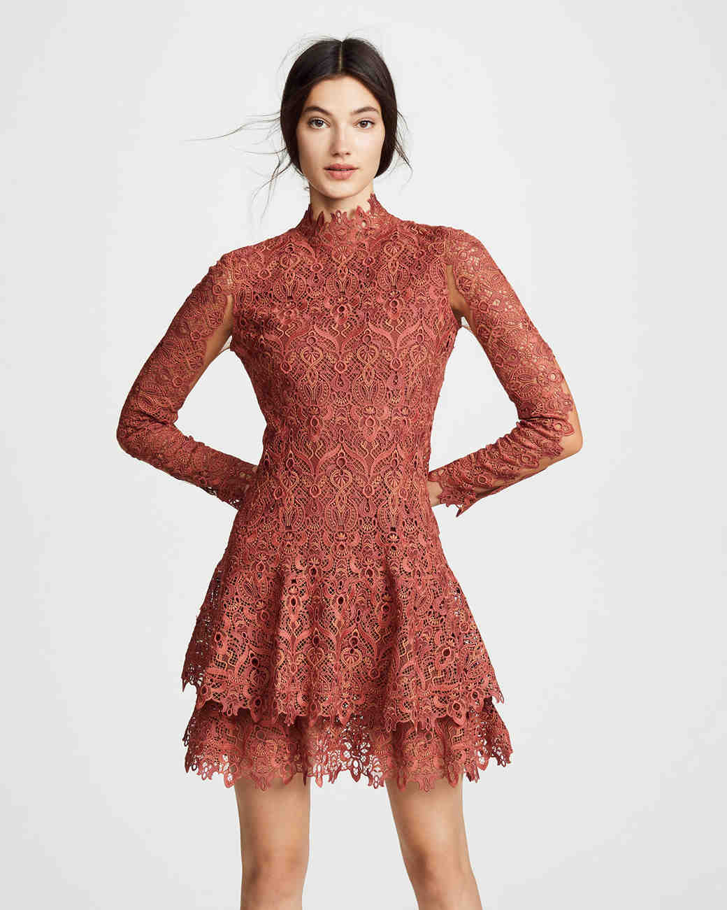 Salmon Lace Fall Wedding Guest Dress