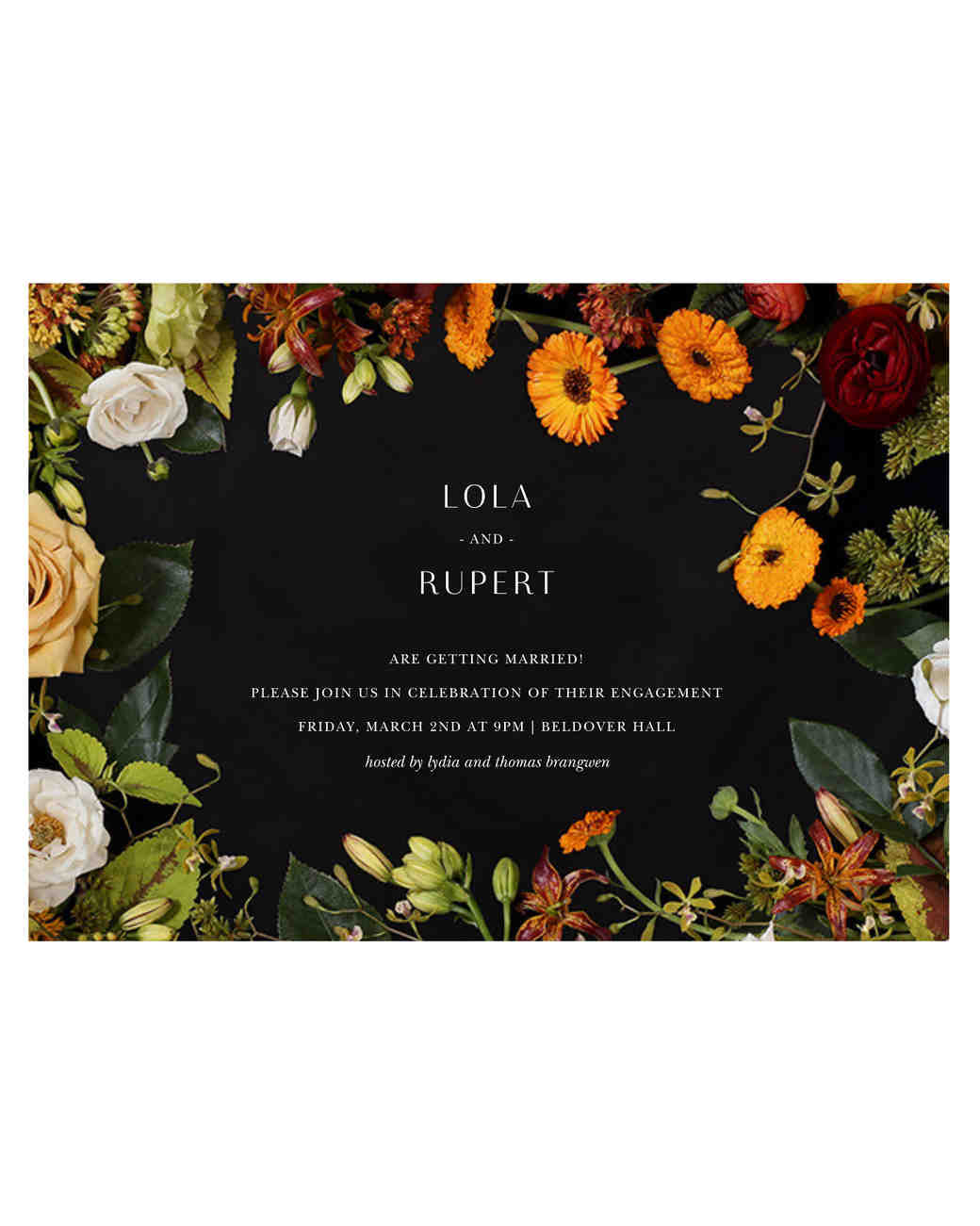 paperless engagement party invite fall colors