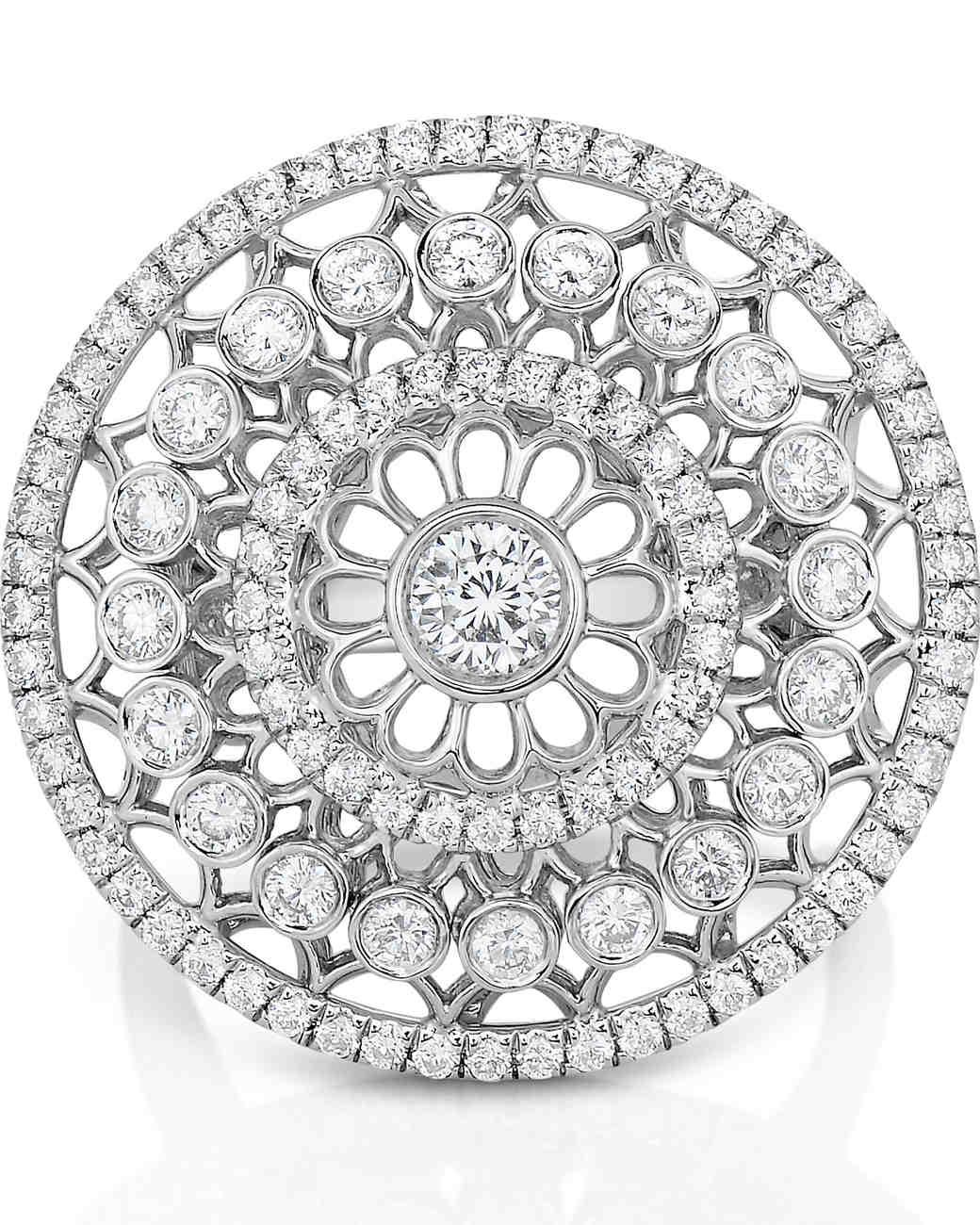 Roberto Coin vintage-inspired diamond rosette engagement ring