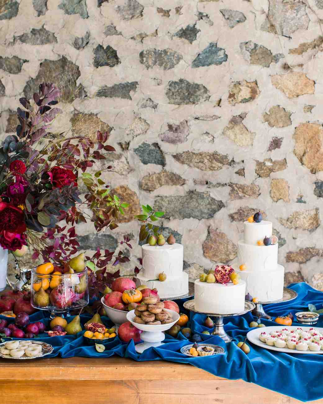 Three Wedding Cakes with Fruit Toppers