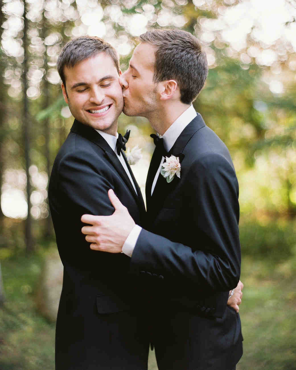 tory sean wedding lake placid new york couple kiss grooms
