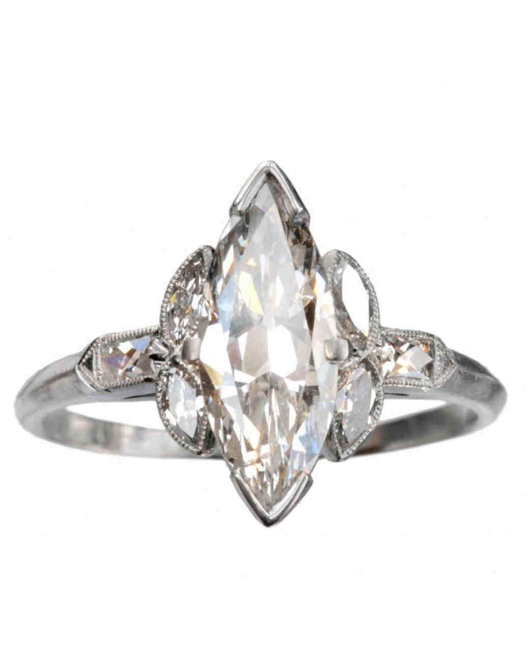Erie Basin Marquise Cut 1920s Art Deco Engagement Ring
