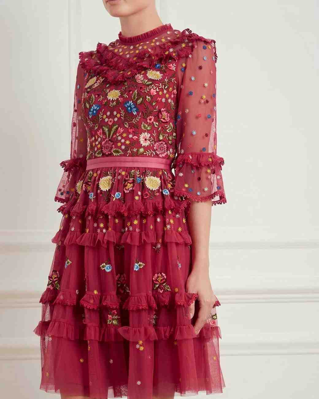 short pink fall wedding guest dress with embellishments