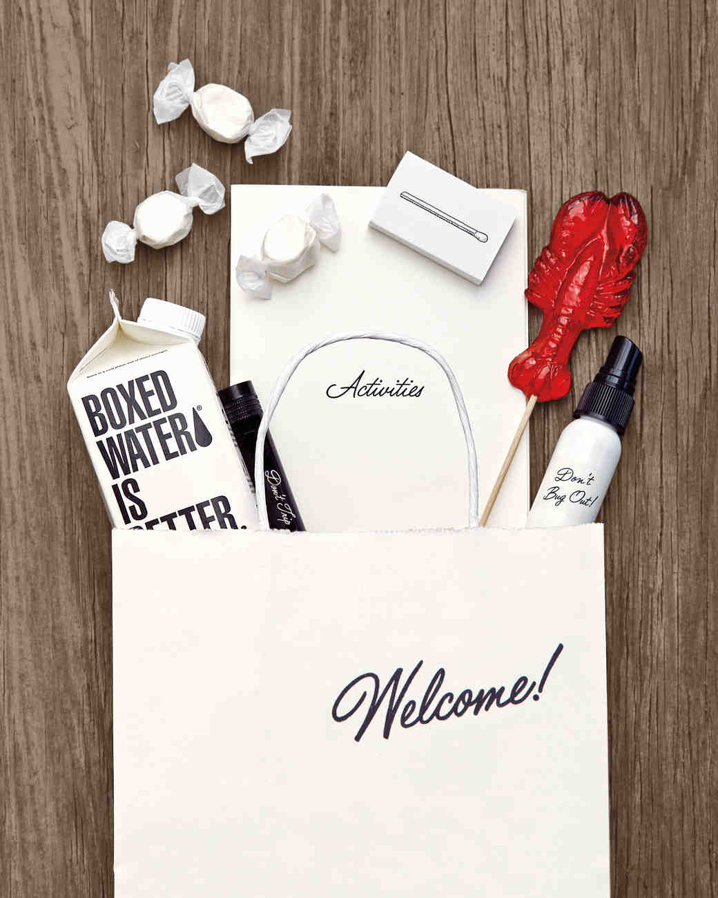 white welcome bag