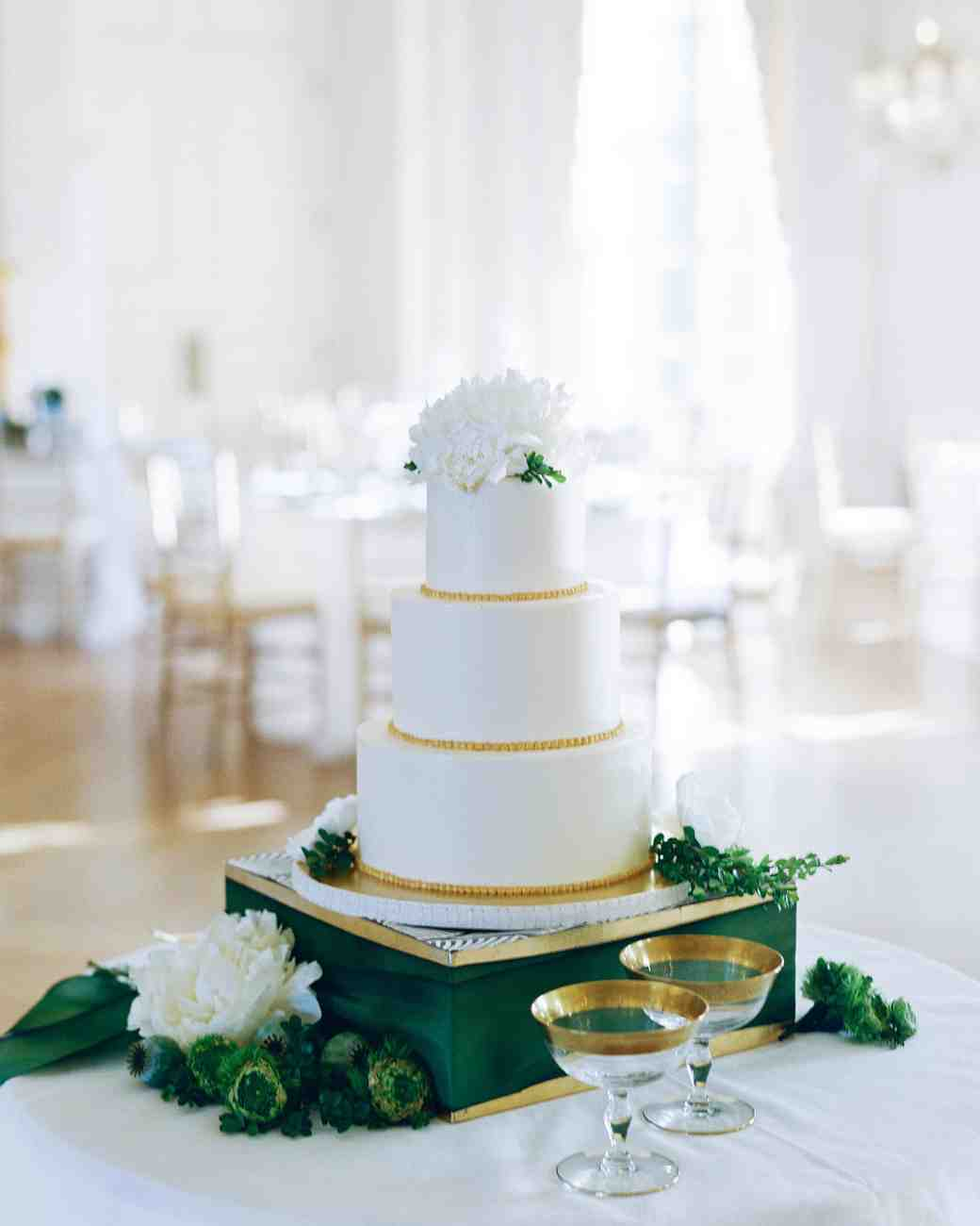 wedding cake with gold beading