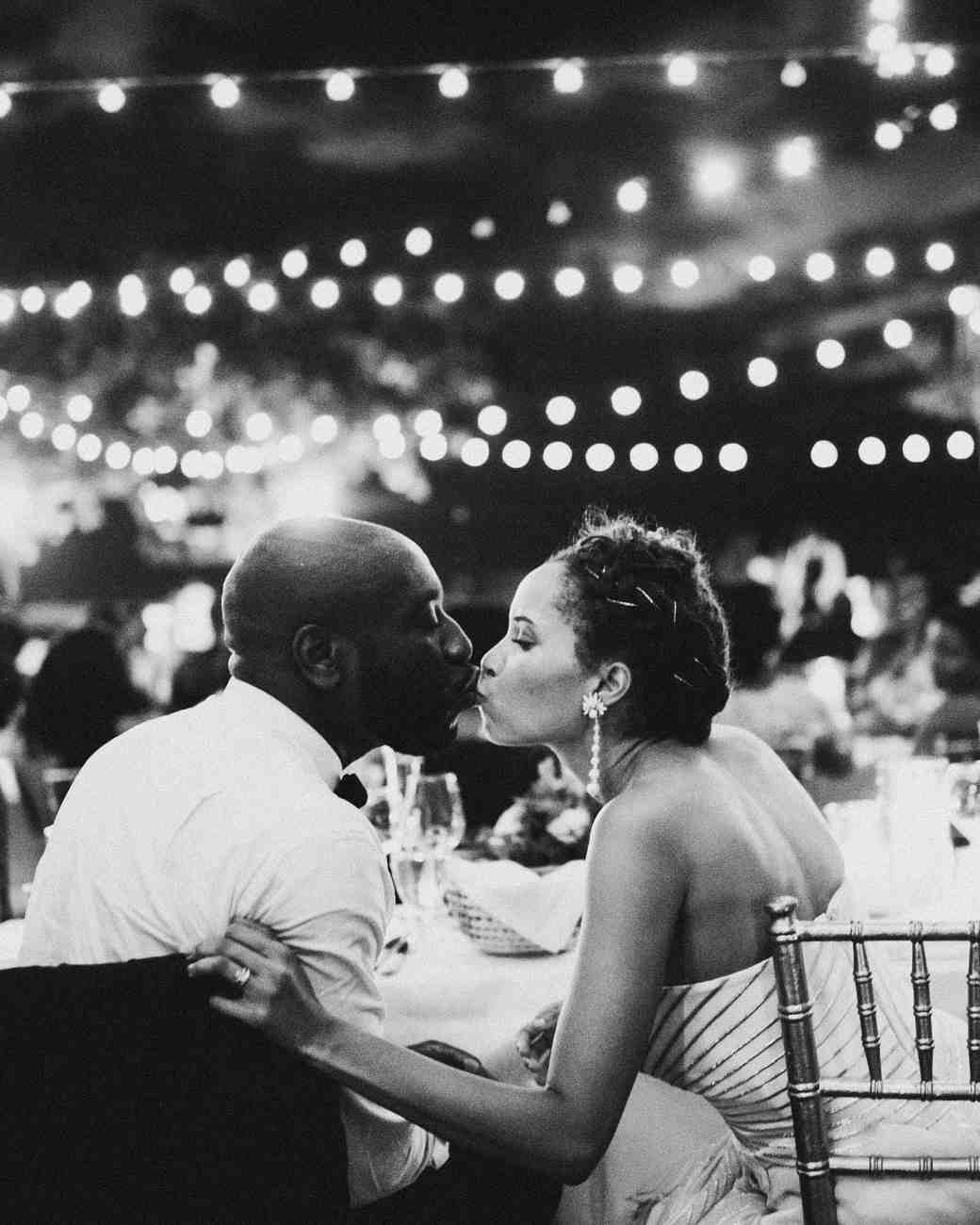 porsha terry wedding jamaica bride groom reception kiss black white