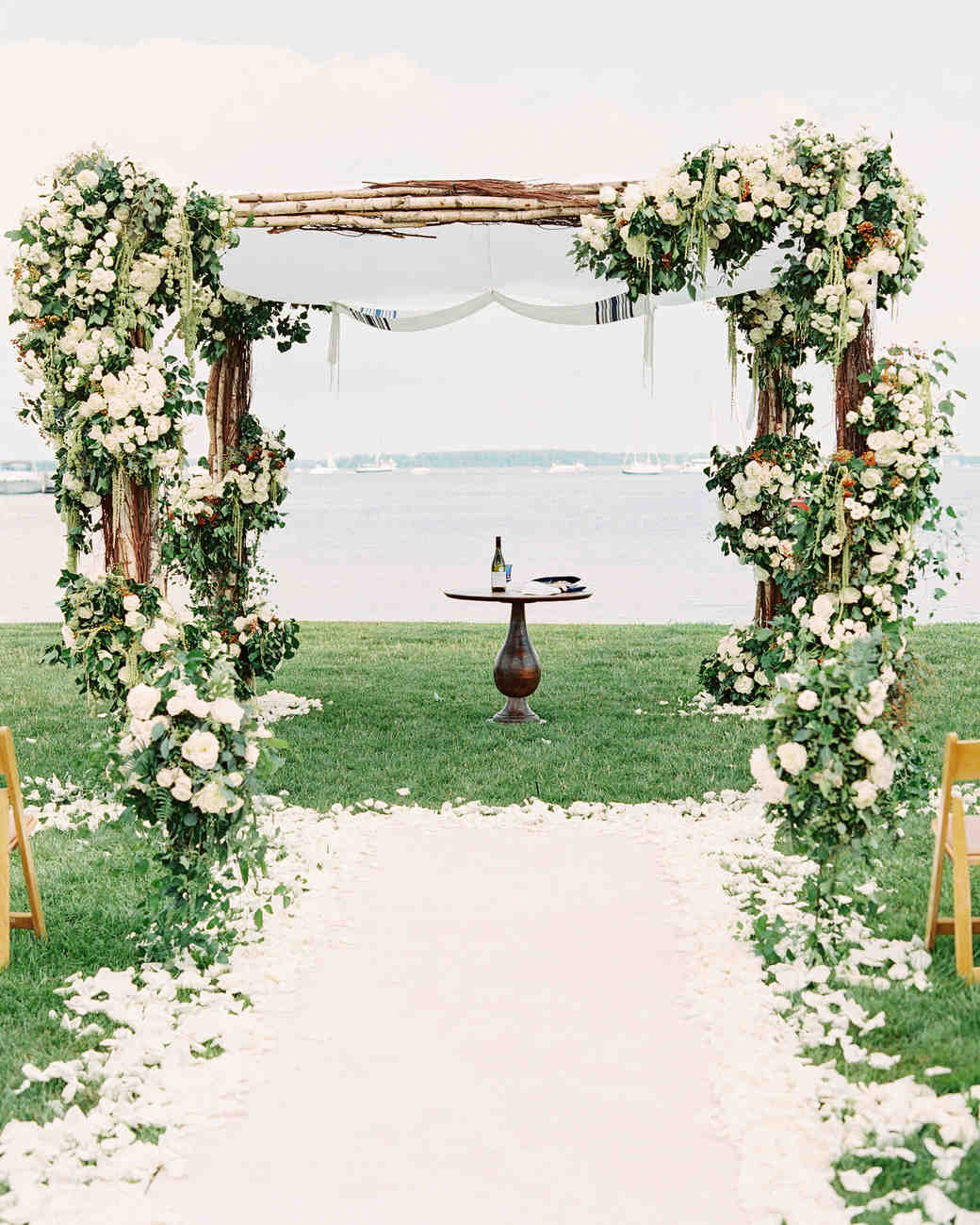 stephanie philip wedding maryland ceremony arch aisle