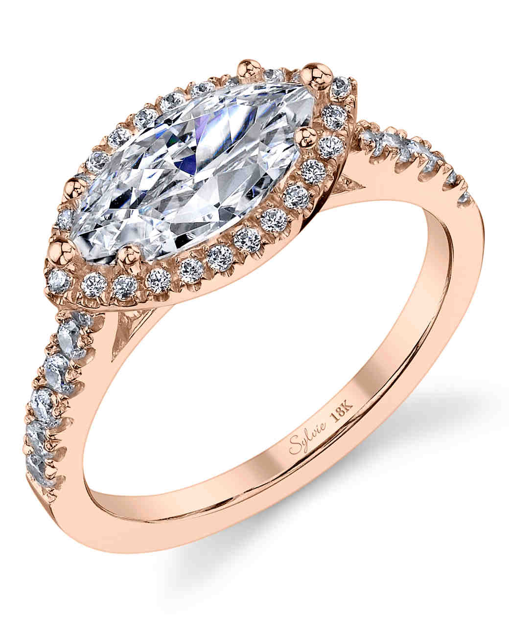 Sylvie Collection East-West Marquise-Cut Rose Gold Engagement Ring