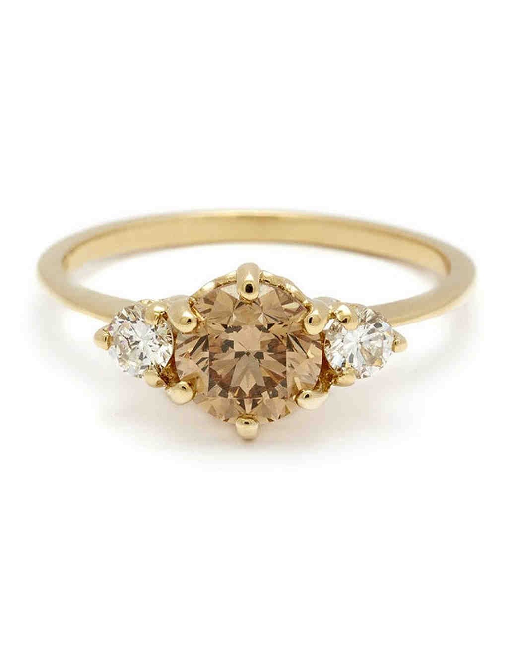 Anna Sheffield Three Stone Yellow Gold Engagement Ring