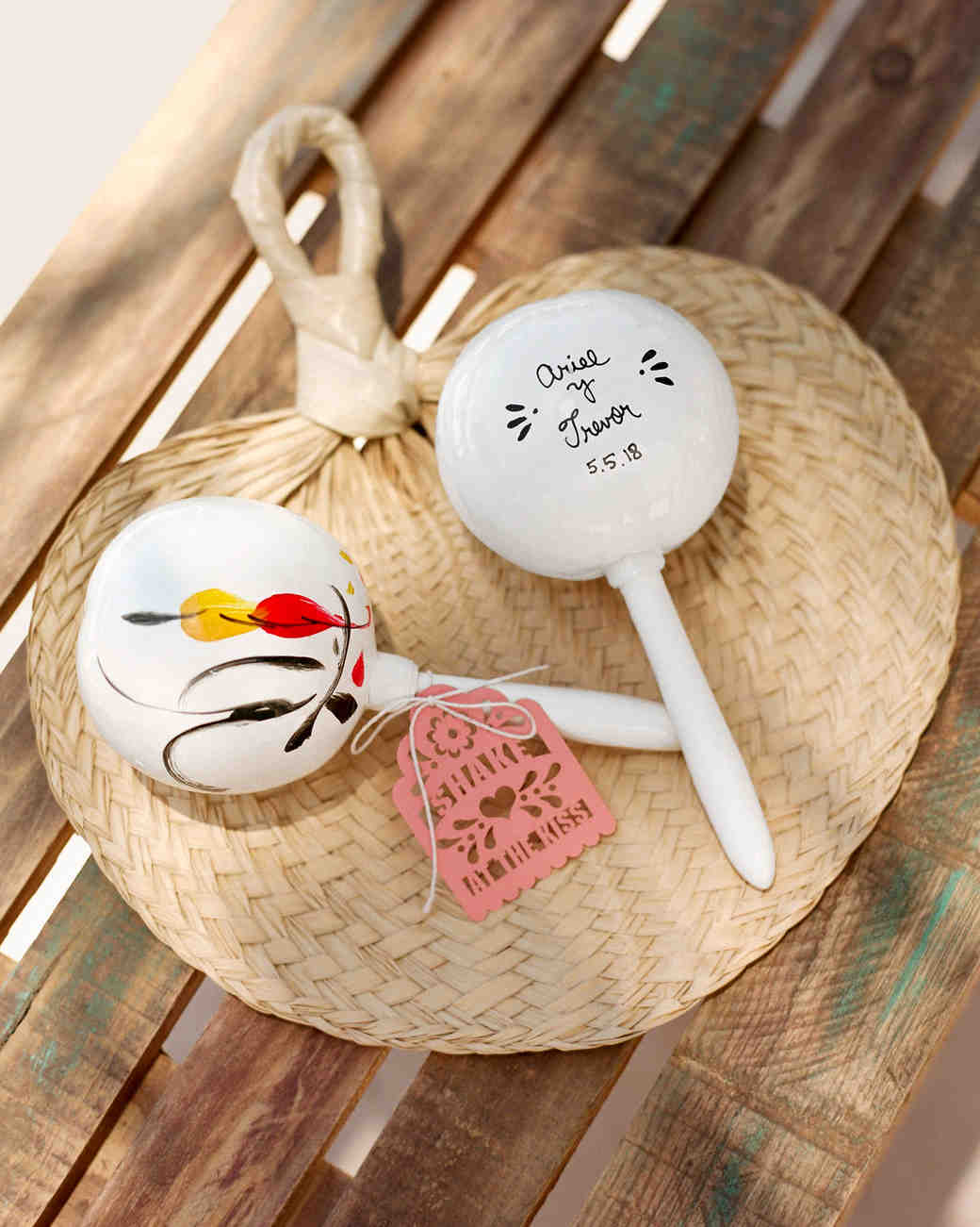 ariel trevor wedding tulum mexico personalized maracas