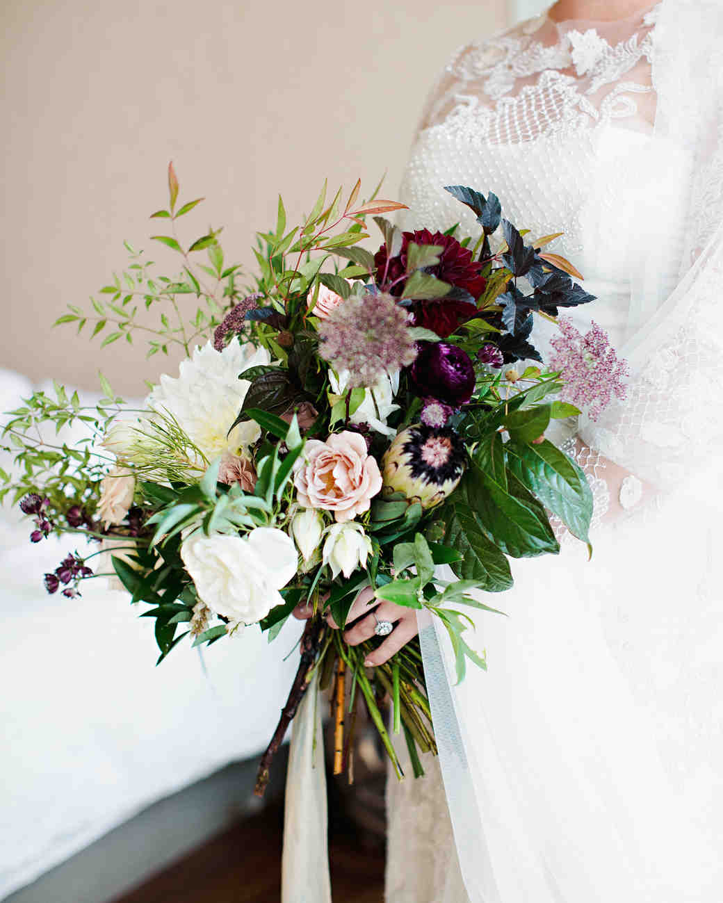 Purple wedding bouquets martha stewart weddings britt courtney wedding minnesota purple fall bouquet dhlflorist Image collections