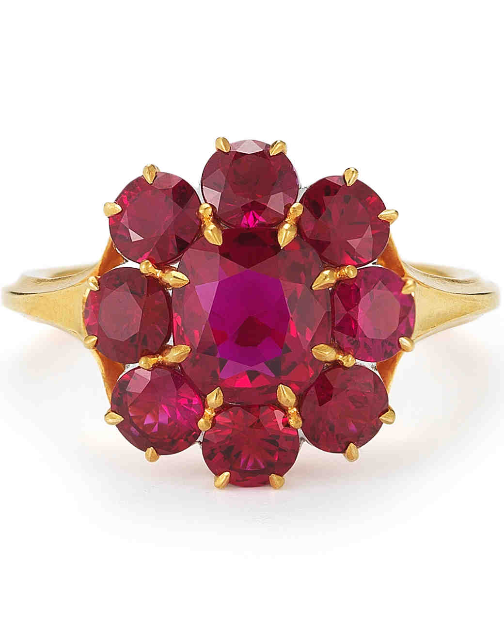 McTeigue & McClelland Ruby Berry Cluster Engagement Ring