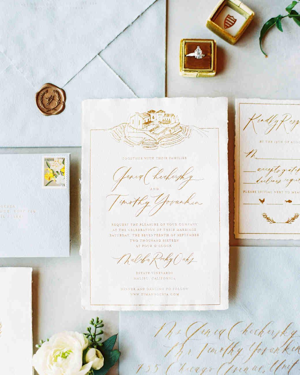 metallic wedding invitations