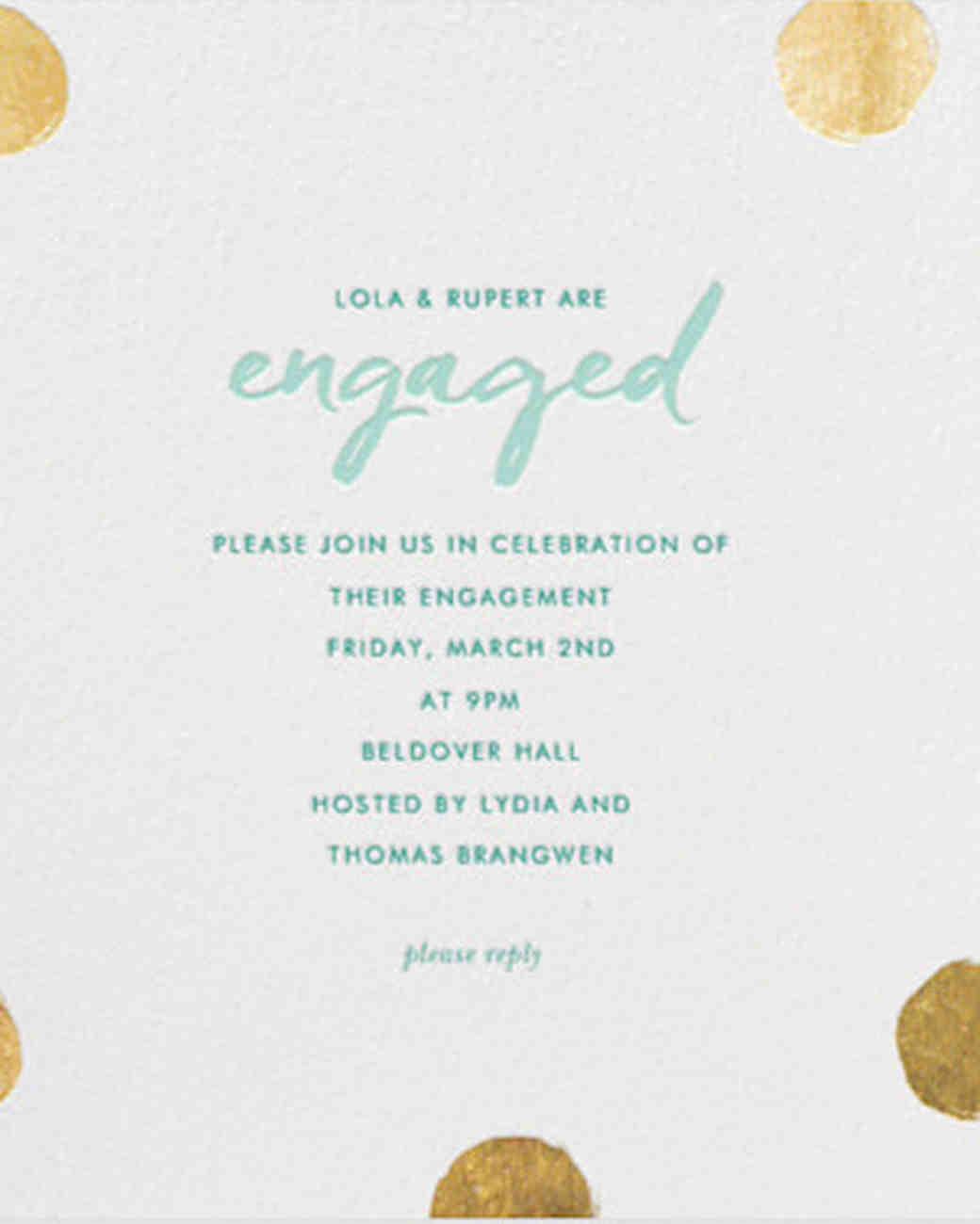 Gold Polka Dot Paperless Invitation  Free Engagement Party Invitation Templates Printable
