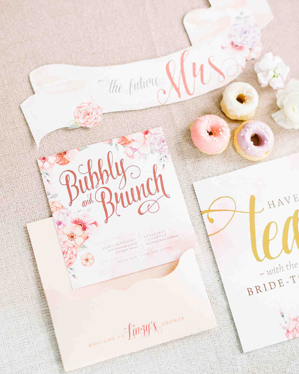 pink bridal shower brunch menu